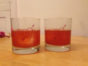 Those rocks glasses were a favor from a friend's wedding last year. Adorable and functional!